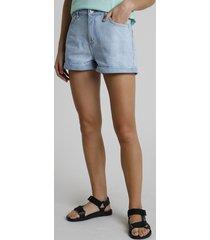 short de sarja feminino cintura super alta barra dobrada azul claro