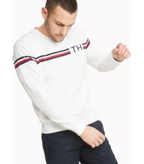 tommy hilfiger men's essential signature stripe sweater bright white - xs