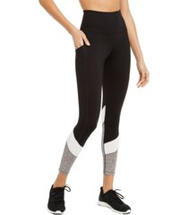 ideology colorblocked high-waist side-pocket leggings, created for macy's