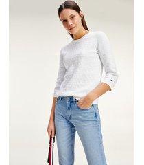 tommy hilfiger women's organic cotton graphic sweater optic white - xs