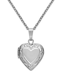 children's embossed heart locket in sterling silver