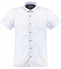 garcia lichtblauw gestreept slim fit overhemd