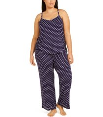 alfani plus size knit tank top pajama set, created for macy's