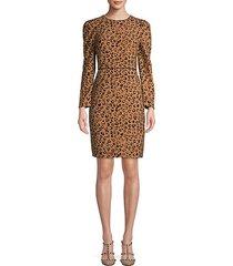leopard-print long-sleeve sheath dress