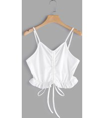 white lace-up front frilly crop top
