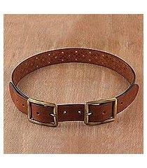 leather belt, 'classic elegance in chestnut' (india)