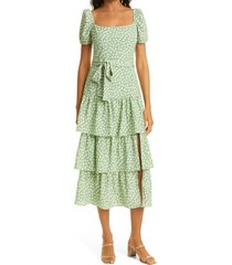 likely lottie tiered midi dress, size 12 in sage/white multi at nordstrom