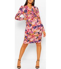 tall woven floral ruched front mini dress, purple
