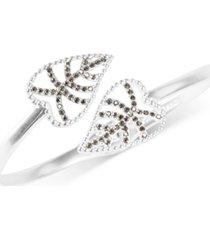 lucky brand silver-tone delicate pave leaf bypass bangle bracelet