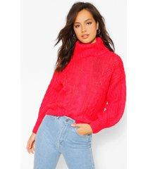 grof gebreide trui met hoge hals, rood