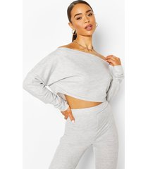 off shoulder cropped sweat top, grey