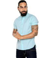 camisa azul turquesa americanino