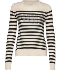 source cp stripes punk 3d strass stickad tröja creme zadig & voltaire