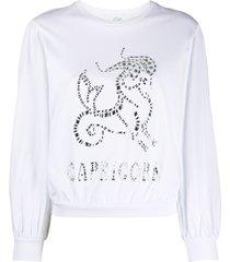 alberta ferretti capricorn crystal-embellished sweatshirt - white