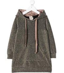 caffe' d'orzo hooded metallic knit dress