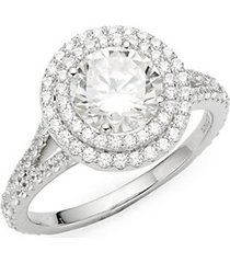 classic sterling silver & simulated diamond halo ring