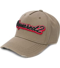 dsquared2 logo-embroidered baseball cap - neutrals