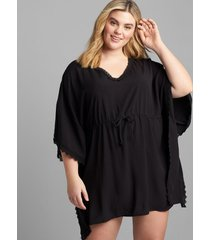 lane bryant women's lace-trim swim cover-up 18/20 black