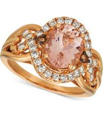 le vian morganite (1-3/4 ct. t.w.) & diamond (5/8 ct. t.w.) ring in 14k rose gold