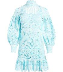 alice+olivia yasmin lace-panelled mini dress - blue