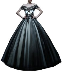 kivary off shoulder white and black tulle gothic lace vintage prom dresses weddi
