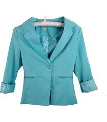 blazer chaqueta manga larga leshop harmonie azul celeste