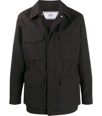ami patch pocket bonded parka jacket - black