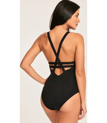 black active long fit deep v one-piece swimsuit
