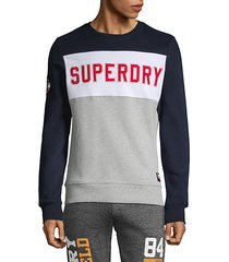 embroidered colorblock cotton blend sweatshirt