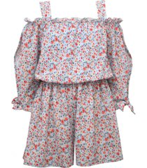 big girls printed bubble crepe cold shoulder romper with self ties on sleeves