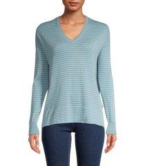 loro piana women's striped v-neck cashmere sweater - spring - size l