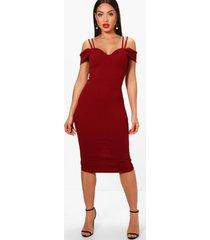 midi jurk met bandjes en uitgesneden schouders, berry