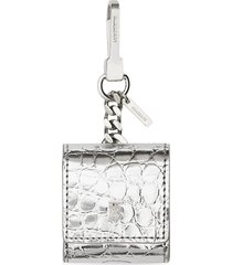 burberry embossed earphones case - silver