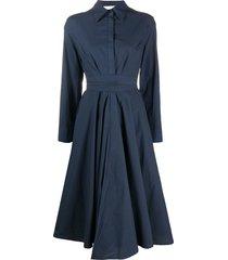 erika cavallini poplin flared shirt dress - blue