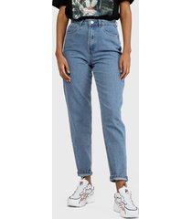 jeans missguided riot high waisted plain rigid mom jean in blue jeans  azul - calce regular