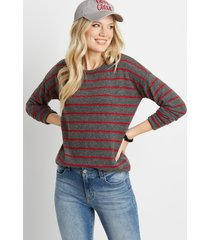 maurices womens red stripe straight hem pullover