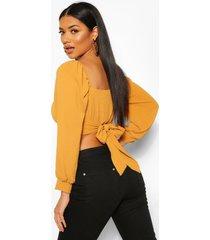 geweven blouse met rugstrik en vierkante hals, gebrand oranje