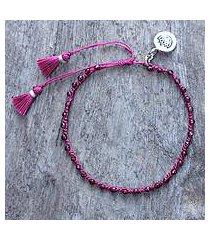 garnet beaded bracelet, 'lovely lotus' (thailand)