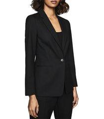 women's reiss hartley textured jacket, size 0 us / 4 uk - blue
