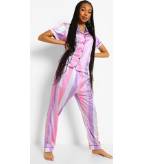 roze gestreepte satijnen sherbet pyjama set met broek, multi