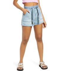 women's blanknyc belted nonstretch denim shorts, size 31 - blue