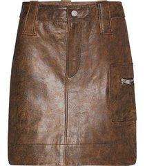 washed leather kort kjol brun ganni