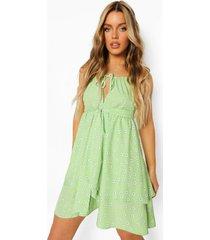 bloemenprint swing jurk met strik, lime