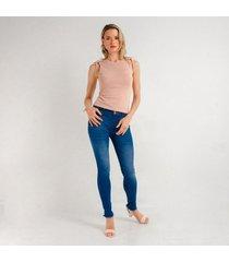 jean azul silueta ajustada y tiro medio para mujer d97395