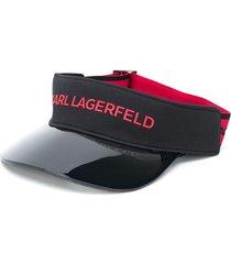 karl lagerfeld logo-print visor - black