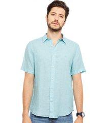 camisa nautica lino mc verde - calce regular
