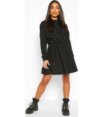 elasticated waist smock sweatshirt dress, black