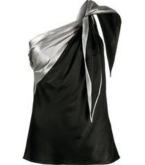 helmut lang front tie draped vest - black