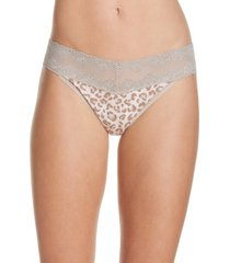 natori bliss perfection thong in sandcastle animal print at nordstrom