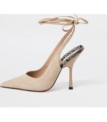 river island womens beige ankle tie court heels